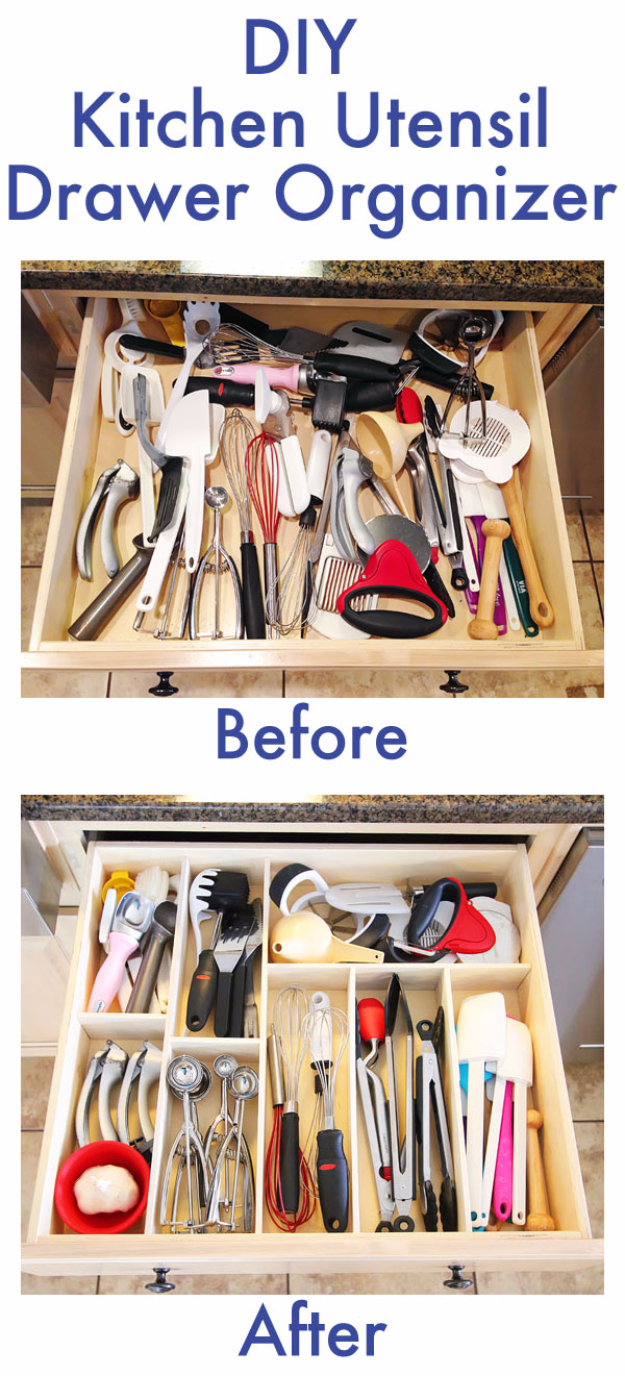 Best Organizing Ideas for the New Year - DIY Kitchen Utensil Drawer Organizer - Resolutions for Getting Organized - DIY Organizing Projects for Home, Bedroom, Closet, Bath and Kitchen - Easy Ways to Organize Shoes, Clutter, Desk and Closets - DIY Projects and Crafts for Women and Men