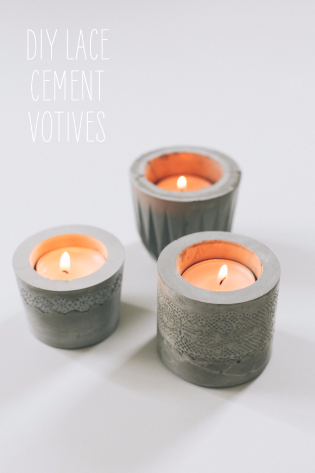 DIY Projects Made With Concrete - DIY Lace Cement Votives - Quick and Easy DIY Concrete Crafts - Cheap and creative countertops and ideas for floors, patio and porch decor, tables, planters, vases, frames, jewelry holder, home decor and DIY gifts