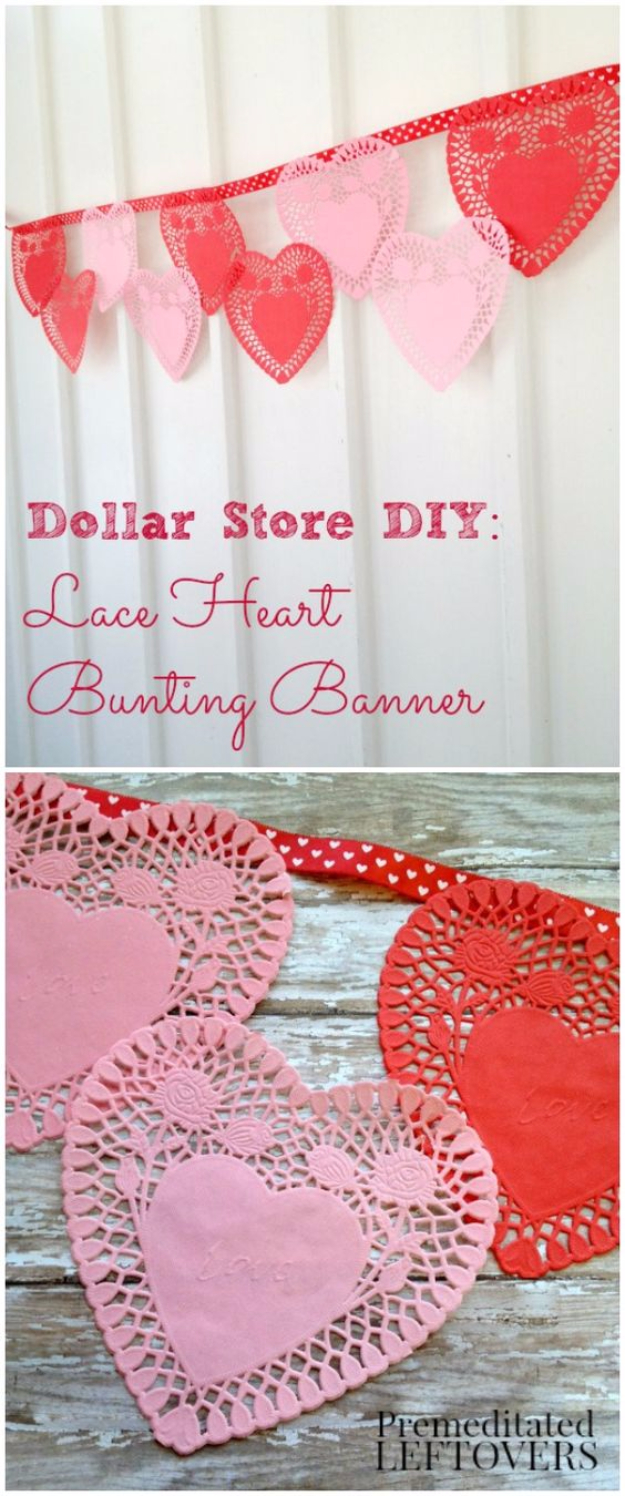DIY Valentine Decor Ideas - DIY Lace Heart Bunting Banner - Cute and Easy Home Decor Projects for Valentines Day Decorating - Best Homemade Valentine Decorations for Home, Tables and Party, Kids and Outdoor - Romantic Vintage Ideas - Cheap Dollar Store and Dollar Tree Crafts http://diyjoy.com/easy-valentine-decorations