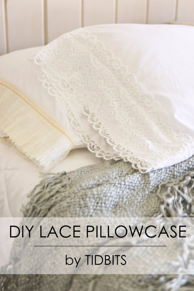 DIY Pillowcases - DIY Lace Pillowcase - Easy Sewing Projects for Pillows - Bedroom and Home Decor Ideas - Sewing Patterns and Tutorials - No Sew Ideas - DIY Projects and Crafts for Women #sewing #diydecor #pillows