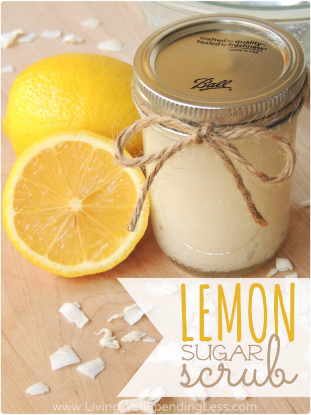 DIY Sugar Scrub Recipes - DIY Lemon Sugar Scrub - Easy and Quick Beauty Products You Can Make at Home - Cool and Cheap DIY Gift Ideas for Homemade Presents Women, Girls and Teens Love - Natural Recipe Ideas for Making Sugar Scrub With Step by Step Tutorials