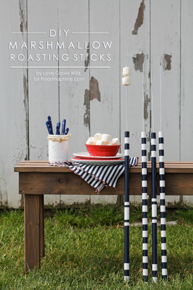 DIY Camping Hacks - DIY Marshmallow Roasting Sticks - Easy Tips and Tricks, Recipes for Camping - Gear Ideas, Cheap Camping Supplies, Tutorials for Making Quick Camping Food, Fire Starters, Gear Holders #diy #camping