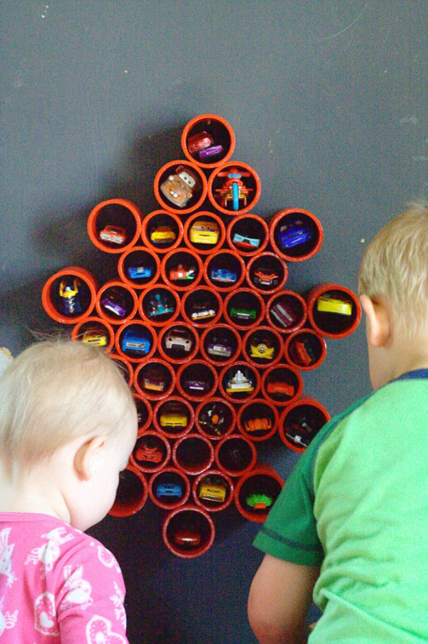 DIY Organizing Ideas for Kids Rooms - DIY Matchbox Car Storage - Easy Storage Projects for Boy and Girl Room - Step by Step Tutorials to Get Toys, Books, Baby Gear, Games and Clothes Organized #diy #kids #organizing