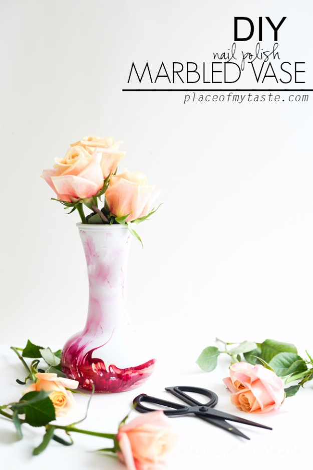 DIY Nail Polish Crafts - DIY Nail Polish Marbled Vase - Easy and Cheap Craft Ideas for Girls, Teens, Tweens and Adults | Fun and Cool DIY Projects You Can Make With Fingernail Polish - Do It Yourself Wire Flowers, Glue Gun Craft Projects and Jewelry Made From nailpolish - Water Marble Tutorials and How To With Step by Step Instructions http://diyjoy.com/nail-polish-crafts