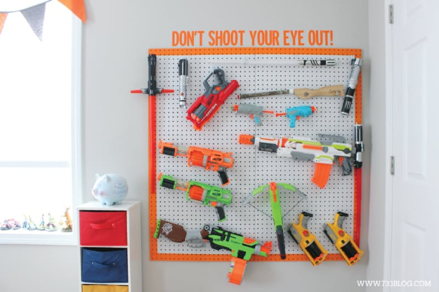 DIY Organizing Ideas for Kids Rooms - DIY Nerf Gun Storage - Easy Storage Projects for Boy and Girl Room - Step by Step Tutorials to Get Toys, Books, Baby Gear, Games and Clothes Organized - Quick and Cheap Shelving, Tables, Toy Boxes, Closet Tips, Bookcases and Dressers - DIY Projects and Crafts http://diyjoy.com/diy-organizing-ideas-kids-rooms
