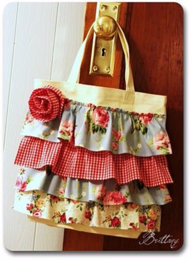 DIY Purses and Handbags - DIY No Sew Ruffle Purse - Homemade Projects to Decorate and Make Purses - Add Paint, Glitter, Buttons and Bling To Your Hand Bags and Purse With These Easy Step by Step Tutorials - Boho, Modern, and Cool Fashion Ideas for Women and Teens #purses #diyclothes #handbags