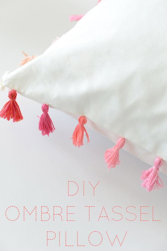 DIY Pillowcases - DIY Ombre Tassel Pillow - Easy Sewing Projects for Pillows - Bedroom and Home Decor Ideas - Sewing Patterns and Tutorials - No Sew Ideas - DIY Projects and Crafts for Women #sewing #diydecor #pillows