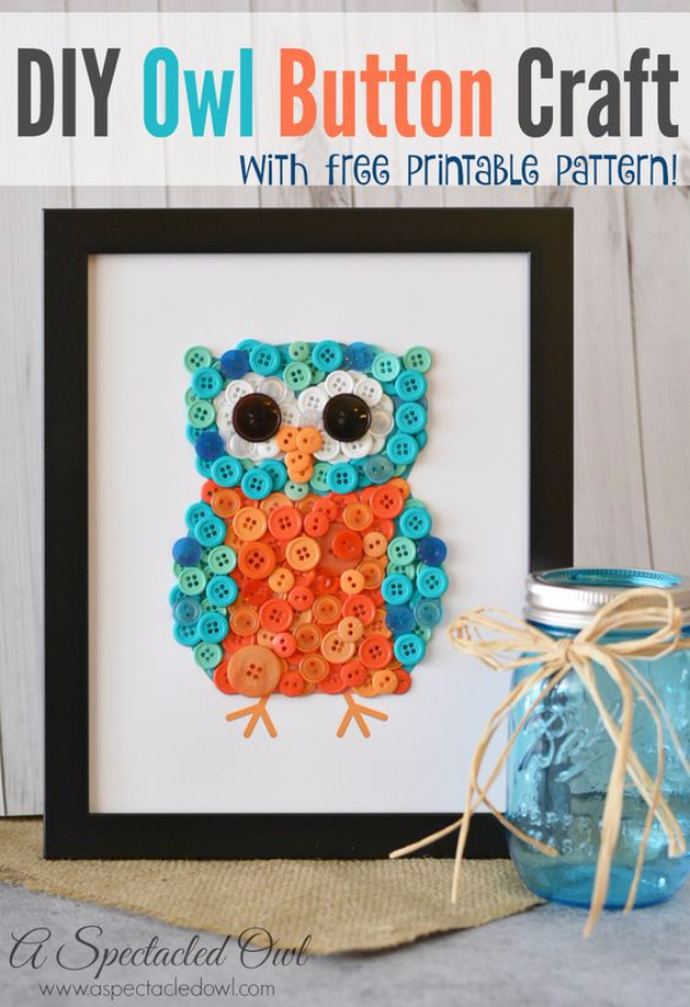 DIY Projects and Crafts Made With Buttons - DIY Owl Button Craft - Easy and Quick Projects You Can Make With Buttons - Cool and Creative Crafts, Sewing Ideas and Homemade Gifts for Women, Teens, Kids and Friends - Home Decor, Fashion and Cheap, Inexpensive Fun Things to Make on A Budget