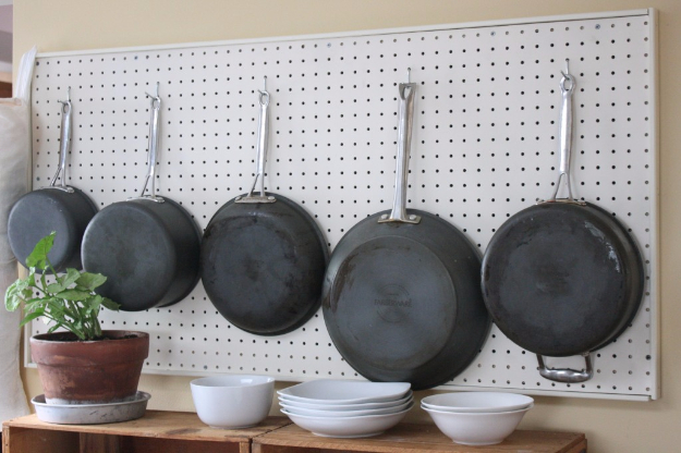 DIY Organizing Ideas for Kitchen - DIY Pegboards In The Kitchen - Cheap and Easy Ways to Get Your Kitchen Organized - Dollar Tree Crafts, Space Saving Ideas - Pantry, Spice Rack, Drawers and Shelving - Home Decor Projects for Men and Women #diykitchen #organizing #diyideas #diy