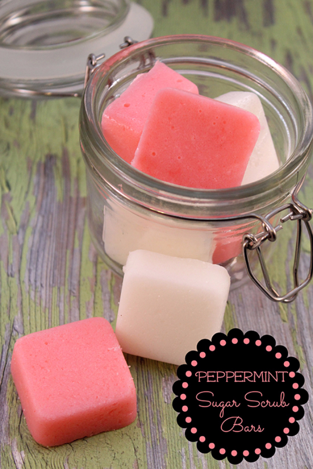 DIY Sugar Scrub Recipes - DIY Peppermint Sugar Scrub Bars - Easy and Quick Beauty Products You Can Make at Home - Cool and Cheap DIY Gift Ideas for Homemade Presents Women, Girls and Teens Love - Natural Recipe Ideas for Making Sugar Scrub With Step by Step Tutorials