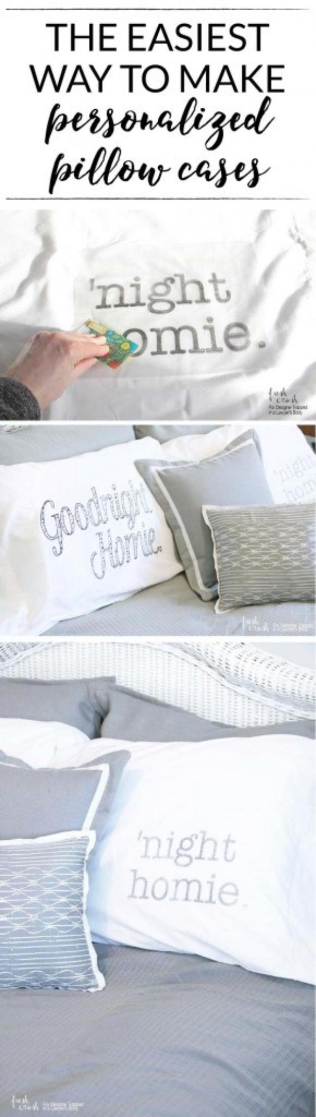 DIY Pillowcases - DIY Personalized Pillow Case - Easy Sewing Projects for Pillows - Bedroom and Home Decor Ideas - Sewing Patterns and Tutorials - No Sew Ideas - DIY Projects and Crafts for Women #sewing #diydecor #pillows
