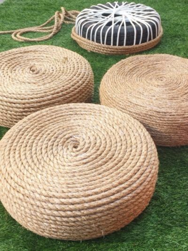DIY Ideas for the Outdoors - DIY Rope Ottomans - Best Do It Yourself Ideas for Yard Projects, Camping, Patio and Spending Time in Garden and Outdoors - Step by Step Tutorials and Project Ideas for Backyard Fun, Cooking and Seating #diy