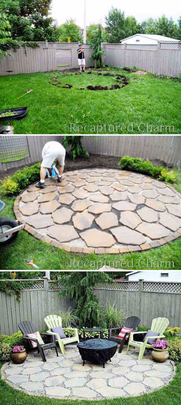 DIY Ideas for the Outdoors - DIY Round Firepit Area - Best Do It Yourself Ideas for Yard Projects, Camping, Patio and Spending Time in Garden and Outdoors - Step by Step Tutorials and Project Ideas for Backyard Fun, Cooking and Seating #diy