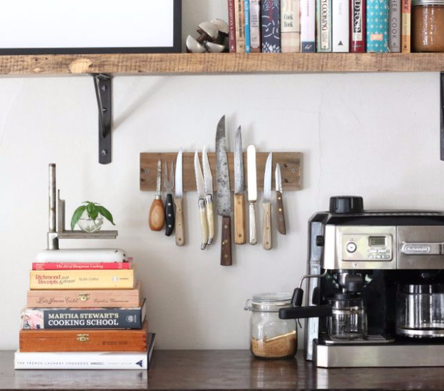 DIY Organizing Ideas for Kitchen - DIY Rustic Knives Wall Rack - Cheap and Easy Ways to Get Your Kitchen Organized - Dollar Tree Crafts, Space Saving Ideas - Pantry, Spice Rack, Drawers and Shelving - Home Decor Projects for Men and Women http://diyjoy.com/diy-organizing-ideas-kitchen