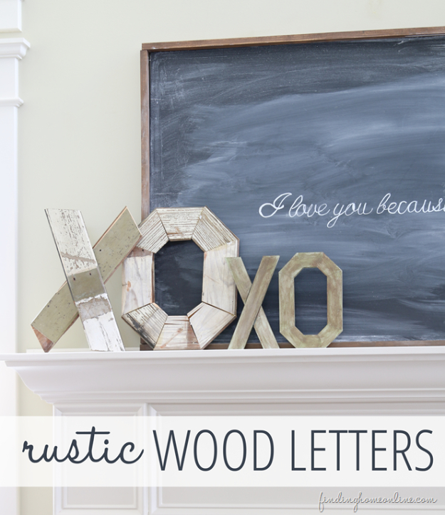 DIY Valentine Decor Ideas - DIY Rustic Wood Letters And My Valentine - Cute and Easy Home Decor Projects for Valentines Day Decorating - Best Homemade Valentine Decorations for Home, Tables and Party, Kids and Outdoor - Romantic Vintage Ideas - Cheap Dollar Store and Dollar Tree Crafts