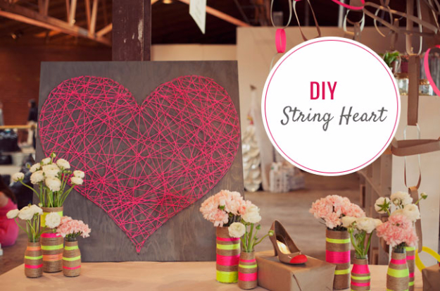 Best DIY Valentines Day Gifts - DIY String Heart - Cute Mason Jar Valentines Day Gifts and Crafts for Him and Her | Boyfriend, Girlfriend, Mom and Dad, Husband or Wife, Friends - Easy DIY Ideas for Valentines Day for Homemade Gift Giving and Room Decor | Creative Home Decor and Craft Projects for Teens, Teenagers, Kids and Adults