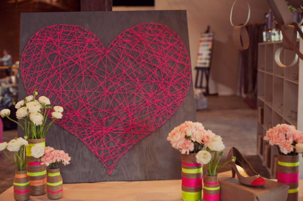 DIY Valentine Decor Ideas - DIY String Heart - Cute and Easy Home Decor Projects for Valentines Day Decorating - Best Homemade Valentine Decorations for Home, Tables and Party, Kids and Outdoor - Romantic Vintage Ideas - Cheap Dollar Store and Dollar Tree Crafts