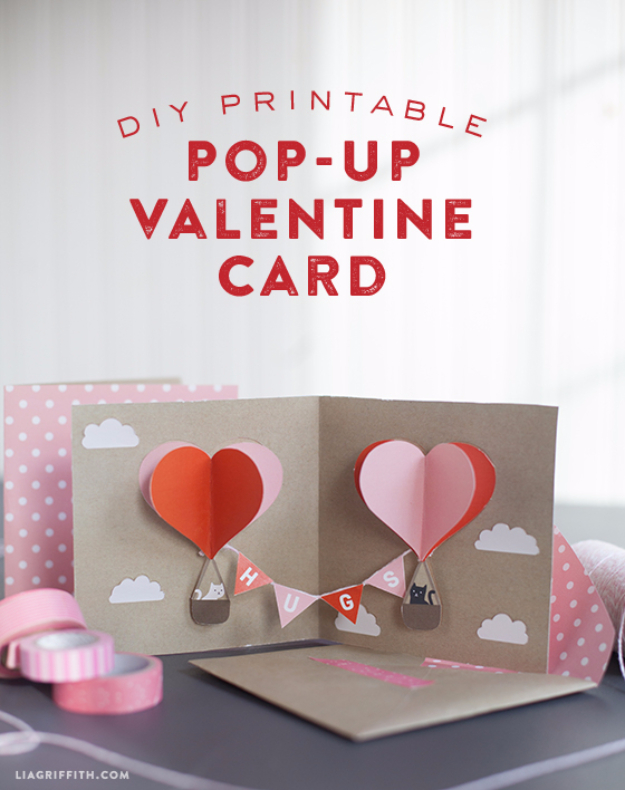 Free Printabl DIY Valentines Day Cards - DIY Valentine Pop Up Card - Easy Handmade Cards for Him and Her, Kids, Freinds and Teens - Funny, Romantic, Printable Ideas for Making A Unique Homemade Valentine Card - Step by Step Tutorials and Instructions for Making Cute Valentine's Day Gifts #valentines