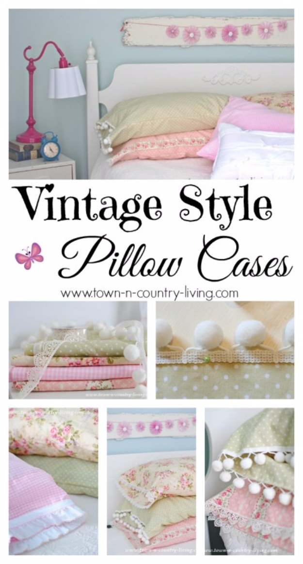 DIY Pillowcases - DIY Vintage Style Pillowcases - Easy Sewing Projects for Pillows - Bedroom and Home Decor Ideas - Sewing Patterns and Tutorials - No Sew Ideas - DIY Projects and Crafts for Women #sewing #diydecor #pillows