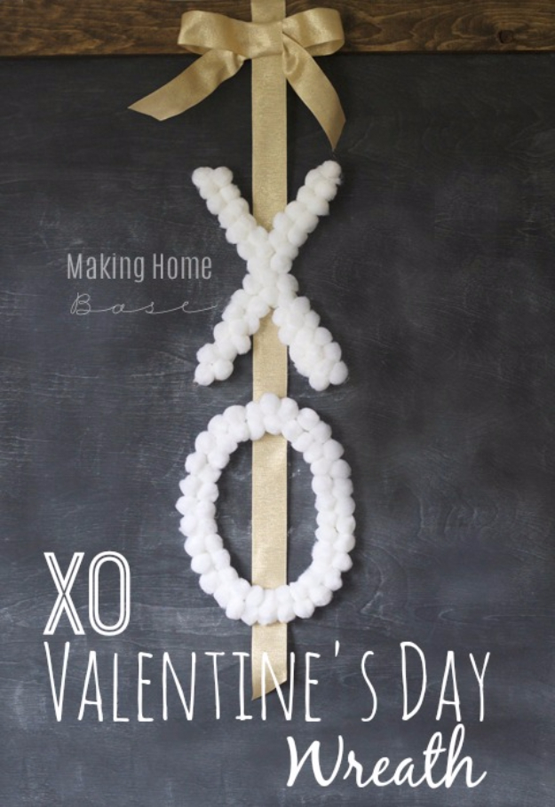 DIY Valentine Decor Ideas - DIY XO Wreath - Cute and Easy Home Decor Projects for Valentines Day Decorating - Best Homemade Valentine Decorations for Home, Tables and Party, Kids and Outdoor - Romantic Vintage Ideas - Cheap Dollar Store and Dollar Tree Crafts
