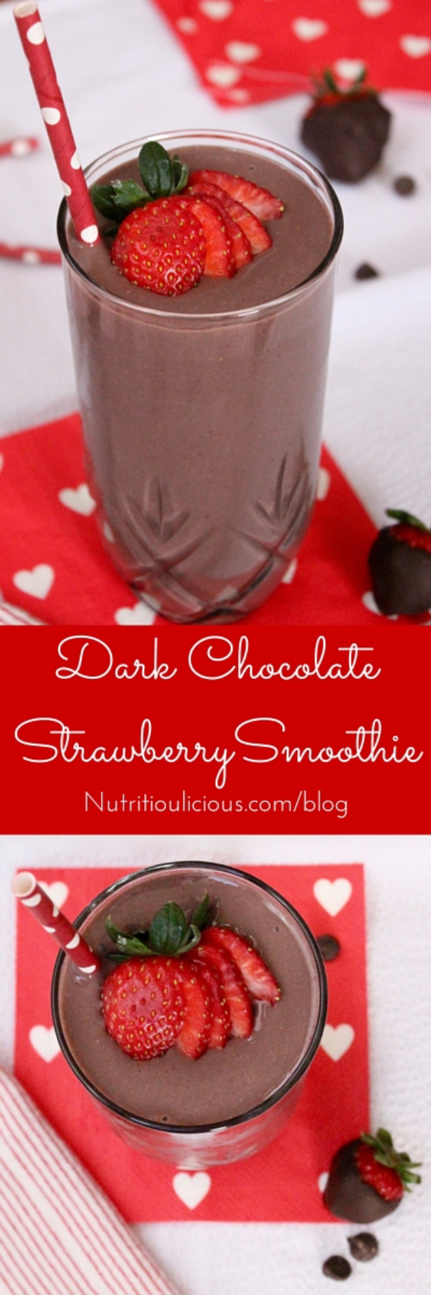Healthy Smoothie Recipes - Dark Chocolate Strawberry Smoothie - Easy ideas perfect for breakfast, energy. Low calorie and high protein recipes for weightloss and to lose weight. Simple homemade recipe ideas that kids love. Quick EASY morning recipes before work and school, after workout #smoothies #healthy #smoothie #healthyrecipes #recipes