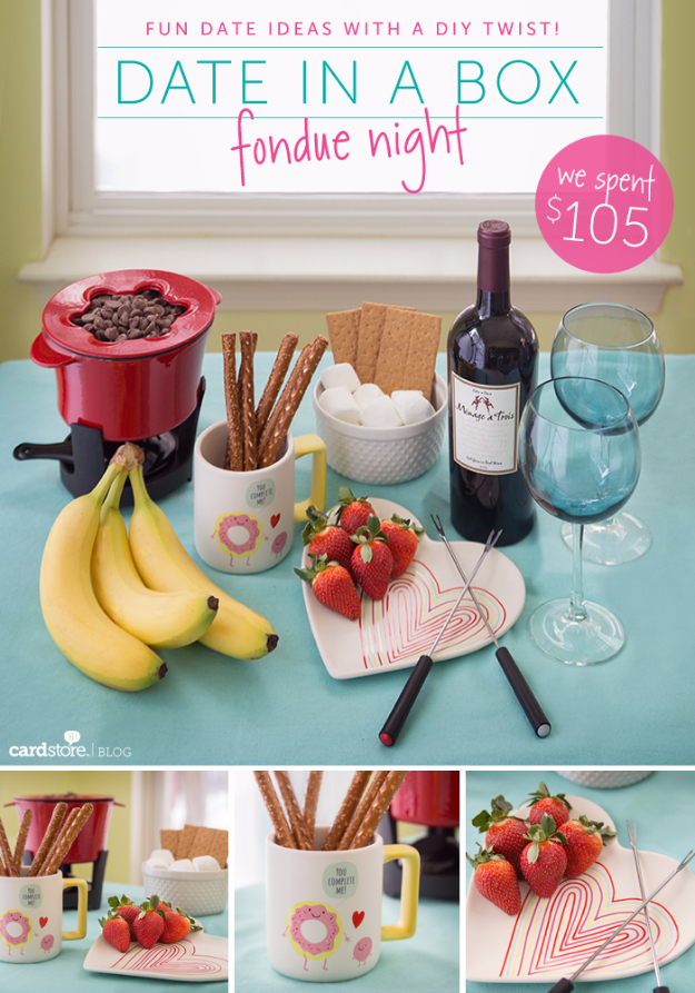 DIY Date Night Ideas - Date In A Box Fondue Night - Creative Ways to Go On Inexpensive Dates - Creative Ways for Couples to Spend Time Together creative date nights diy idea