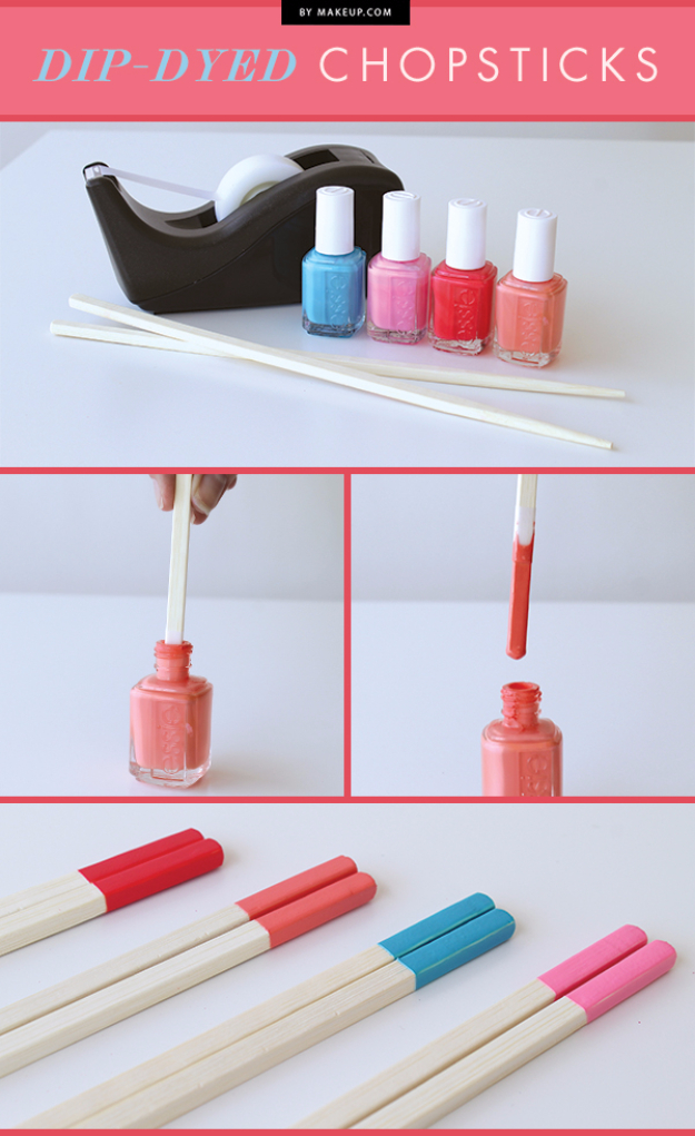 DIY Nail Polish Crafts - Dip Dyed Chospsticks - Easy and Cheap Craft Ideas for Girls, Teens, Tweens and Adults | Fun and Cool DIY Projects You Can Make With Fingernail Polish - Do It Yourself Wire Flowers, Glue Gun Craft Projects and Jewelry Made From nailpolish - Water Marble Tutorials and How To With Step by Step Instructions http://diyjoy.com/nail-polish-crafts