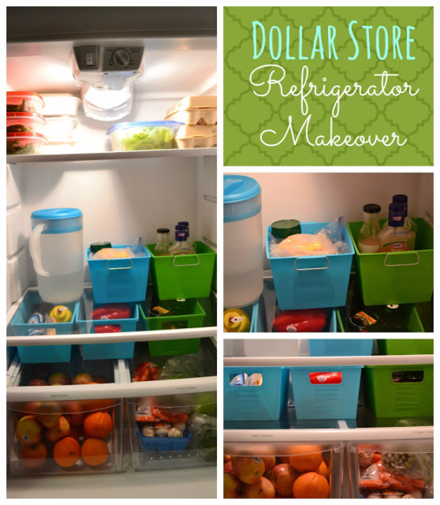 DIY Organizing Ideas for Kitchen - Dollar Store Refrigerator Makeover - Cheap and Easy Ways to Get Your Kitchen Organized - Dollar Tree Crafts, Space Saving Ideas - Pantry, Spice Rack, Drawers and Shelving - Home Decor Projects for Men and Women http://diyjoy.com/diy-organizing-ideas-kitchen