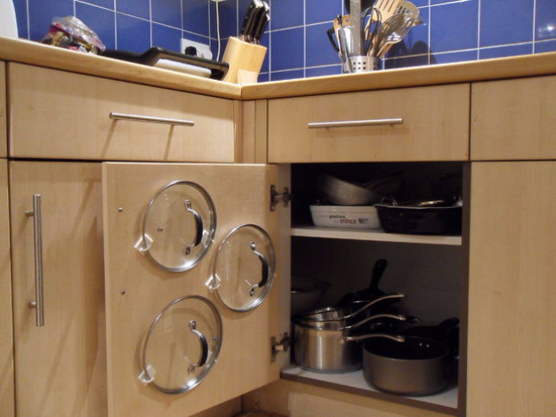 DIY Organizing Ideas for Kitchen - Easiest Cupboard Pan Lid Organiser - Cheap and Easy Ways to Get Your Kitchen Organized - Dollar Tree Crafts, Space Saving Ideas - Pantry, Spice Rack, Drawers and Shelving - Home Decor Projects for Men and Women http://diyjoy.com/diy-organizing-ideas-kitchen