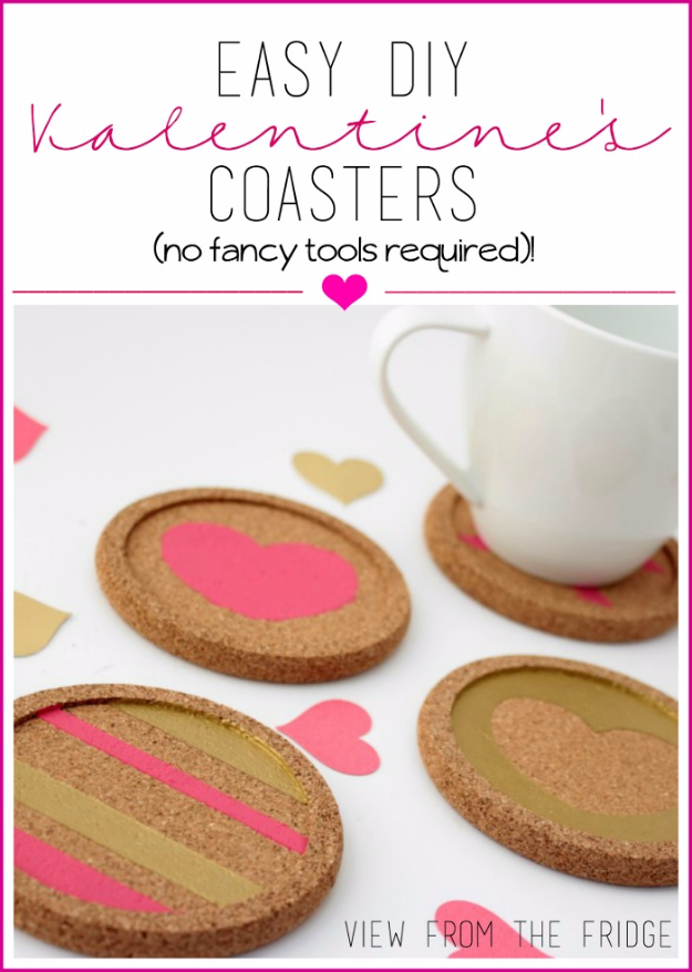 DIY Valentine Decor Ideas - Easy DIY valentine's Coasters - Cute and Easy Home Decor Projects for Valentines Day Decorating - Best Homemade Valentine Decorations for Home, Tables and Party, Kids and Outdoor - Romantic Vintage Ideas - Cheap Dollar Store and Dollar Tree Crafts