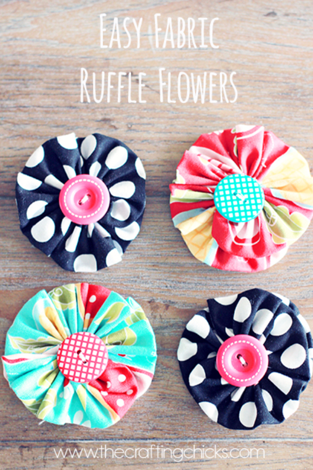 DIY Projects and Crafts Made With Buttons - Easy Fabric Ruffle Flowers - Easy and Quick Projects You Can Make With Buttons - Cool and Creative Crafts, Sewing Ideas and Homemade Gifts for Women, Teens, Kids and Friends - Home Decor, Fashion and Cheap, Inexpensive Fun Things to Make on A Budget