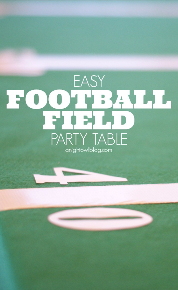 DIY Projects for the Sports Fan - Easy Football Field Party Table - Crafts and DIY Ideas for Men - Football, Baseball, Basketball, Soccer and Golf - Wall Art, DIY Gifts, Easy Gift Ideas, Room and Home Decor #sports #diygifts #giftsformen