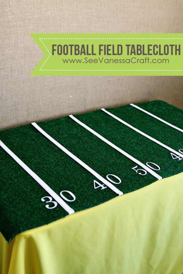 DIY Projects for the Sports Fan - Easy Football Field Tablecloth - Crafts and DIY Ideas for Men - Football, Baseball, Basketball, Soccer and Golf - Wall Art, DIY Gifts, Easy Gift Ideas, Room and Home Decor http://diyjoy.com/diy-ideas-sports-fan