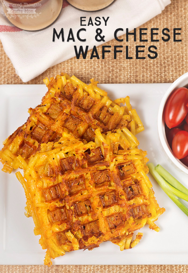Waffle Iron Hacks and Easy Recipes for Waffle Irons - Easy Mac And Cheese Waffles - Quick Ways to Make Healthy Meals in a Waffle Maker - Breakfast, Dinner, Lunch, Dessert and Snack Ideas - Homemade Pizza, Cinnamon Rolls, Egg, Low Carb, Sandwich, Bisquick, Savory Recipes and Biscuits http://diyjoy.com/waffle-iron-hacks-recipes