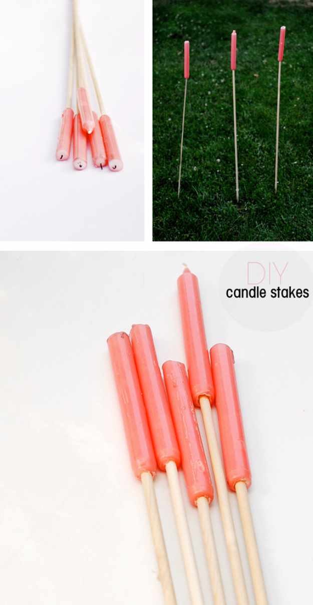 DIY Ideas for the Outdoors - Easy Outdoor Candle Stakes - Best Do It Yourself Ideas for Yard Projects, Camping, Patio and Spending Time in Garden and Outdoors - Step by Step Tutorials and Project Ideas for Backyard Fun, Cooking and Seating http://diyjoy.com/diy-ideas-outdoors
