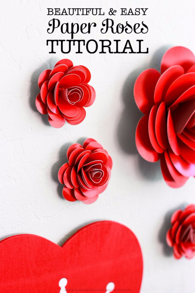 DIY Valentine Decor Ideas - Easy Paper Roses - Cute and Easy Home Decor Projects for Valentines Day Decorating - Best Homemade Valentine Decorations for Home, Tables and Party, Kids and Outdoor - Romantic Vintage Ideas - Cheap Dollar Store and Dollar Tree Crafts