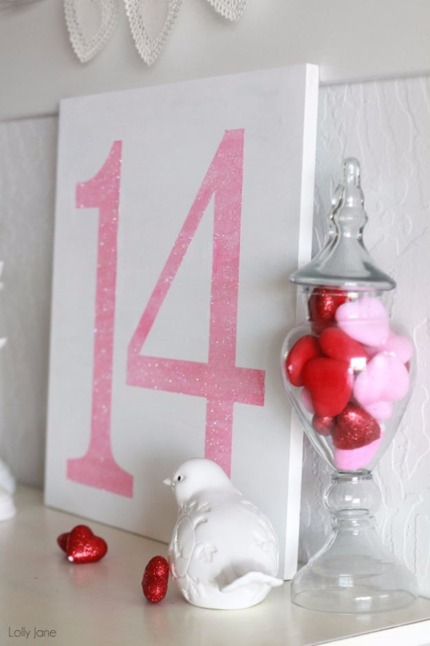 DIY Valentine Decor Ideas - Easy Valentine's Day Glitter Sign - Cute and Easy Home Decor Projects for Valentines Day Decorating - Best Homemade Valentine Decorations for Home, Tables and Party, Kids and Outdoor - Romantic Vintage Ideas - Cheap Dollar Store and Dollar Tree Crafts http://diyjoy.com/easy-valentine-decorations