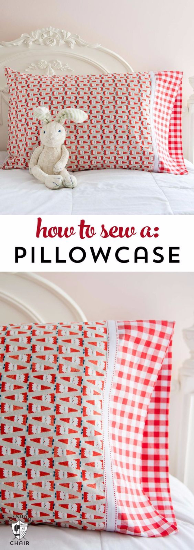 DIY Pillowcases - Easy Way To Sew A Pillowcase - Easy Sewing Projects for Pillows - Bedroom and Home Decor Ideas - Sewing Patterns and Tutorials - No Sew Ideas - DIY Projects and Crafts for Women #sewing #diydecor #pillows