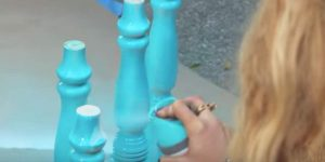 She Paints 4 Spindles Turquoise And What She Puts Them On Is Full Of Rustic Charm!