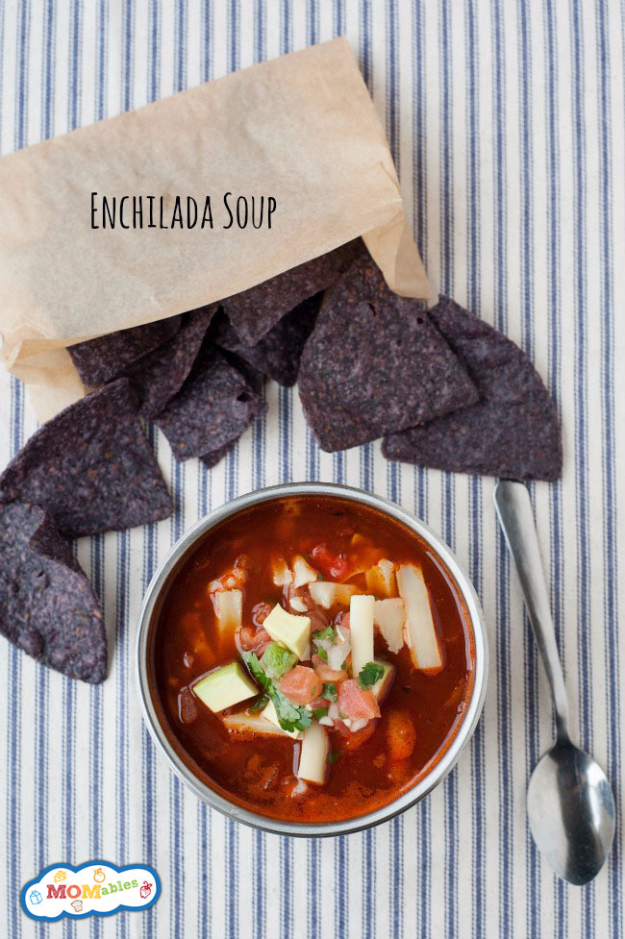 Healthy Lunch Ideas for Work - Enchilada Soup - Quick and Easy Recipes You Can Pack for Lunches at the Office - Lowfat and Simple Ideas for Eating on the Job - Microwave, No Heat, Mason Jar Salads, Sandwiches, Wraps, Soups and Bowls http://diyjoy.com/healthy-lunch-ideas-work