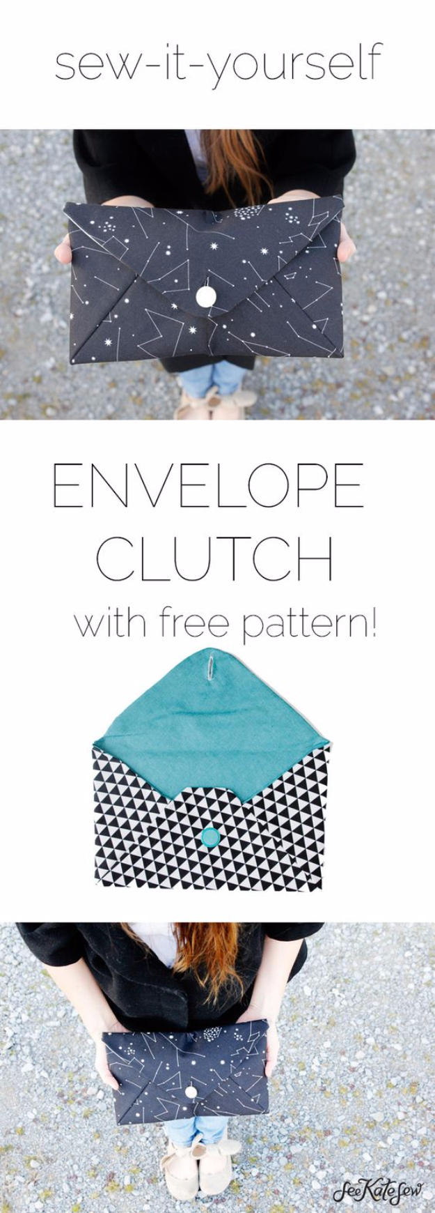 DIY Purses and Handbags - Envelope Clutch - Homemade Projects to Decorate and Make Purses - Add Paint, Glitter, Buttons and Bling To Your Hand Bags and Purse With These Easy Step by Step Tutorials - Boho, Modern, and Cool Fashion Ideas for Women and Teens #purses #diyclothes #handbags