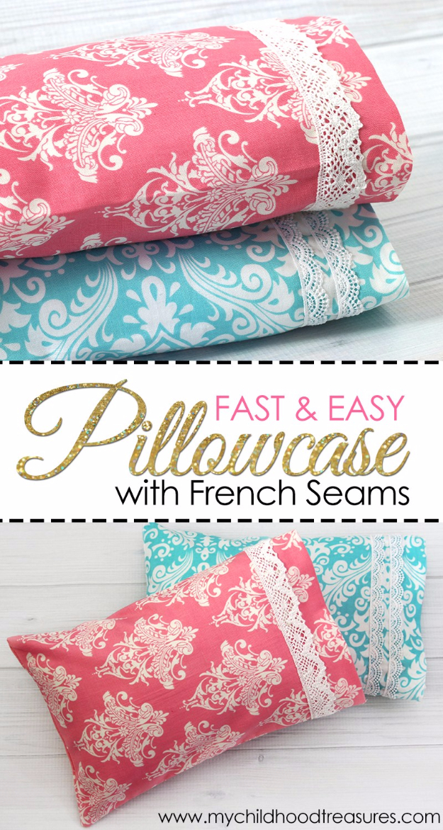 DIY Pillowcases - Fast And Easy Pillowcase With French Seams - Easy Sewing Projects for Pillows - Bedroom and Home Decor Ideas - Sewing Patterns and Tutorials - No Sew Ideas - DIY Projects and Crafts for Women #sewing #diydecor #pillows