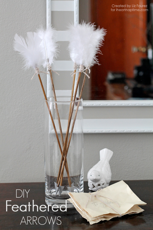 DIY Valentine Decor Ideas - Feathered Arrow Valentine Decor - Cute and Easy Home Decor Projects for Valentines Day Decorating - Best Homemade Valentine Decorations for Home, Tables and Party, Kids and Outdoor - Romantic Vintage Ideas - Cheap Dollar Store and Dollar Tree Crafts