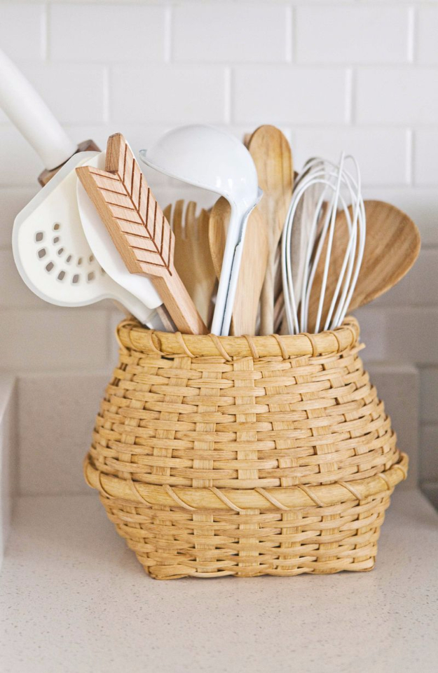 DIY Organizing Ideas for Kitchen - Flea Market Basket To Store Utensils - Cheap and Easy Ways to Get Your Kitchen Organized - Dollar Tree Crafts, Space Saving Ideas - Pantry, Spice Rack, Drawers and Shelving - Home Decor Projects for Men and Women #diykitchen #organizing #diyideas #diy