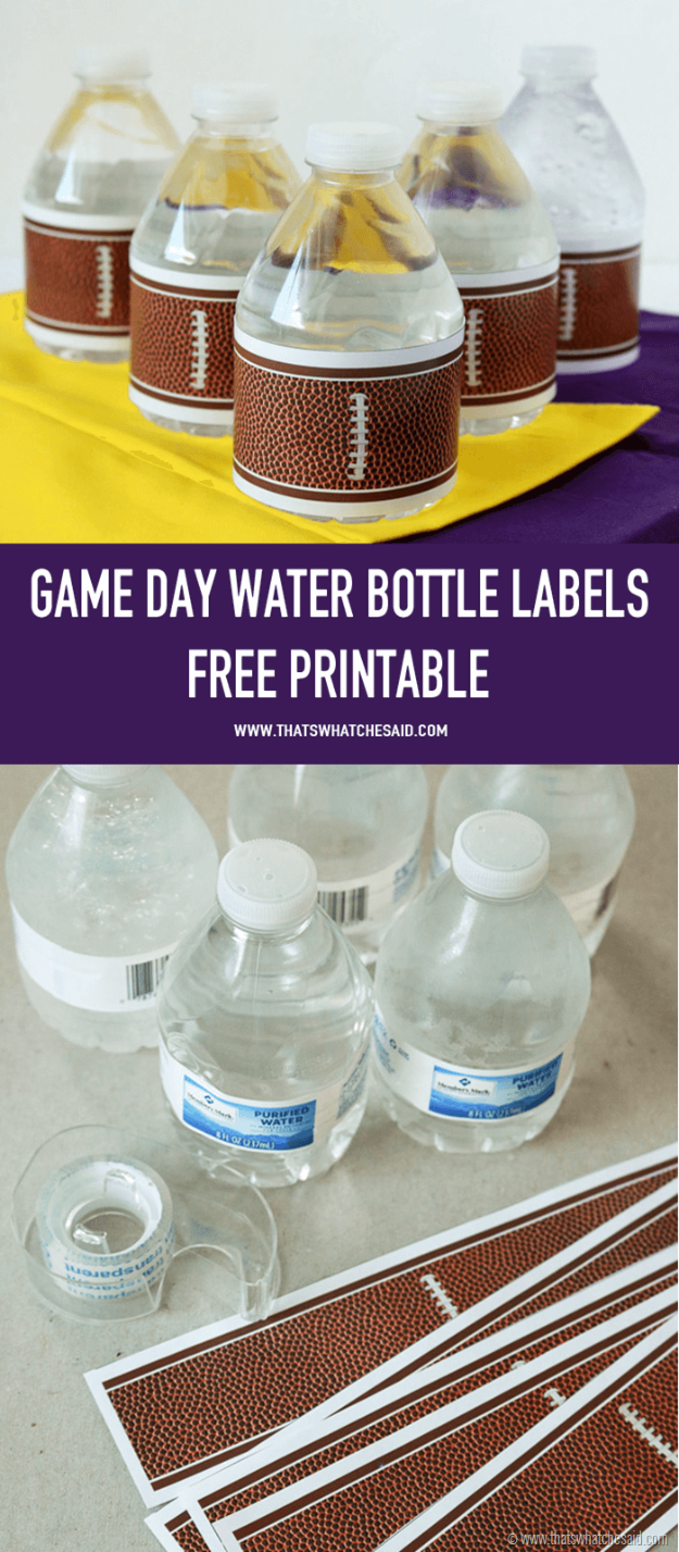 DIY Projects for the Sports Fan - Football Water Bottle Labels - Crafts and DIY Ideas for Men - Football, Baseball, Basketball, Soccer and Golf - Wall Art, DIY Gifts, Easy Gift Ideas, Room and Home Decor http://diyjoy.com/diy-ideas-sports-fan
