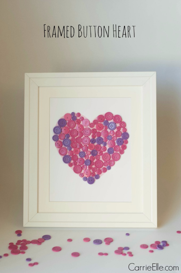 DIY Valentine Decor Ideas - Framed Button Heart - Cute and Easy Home Decor Projects for Valentines Day Decorating - Best Homemade Valentine Decorations for Home, Tables and Party, Kids and Outdoor - Romantic Vintage Ideas - Cheap Dollar Store and Dollar Tree Crafts