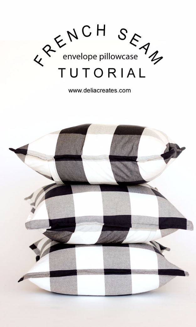 DIY Pillowcases - French Seam Envelope Pillowcase - Easy Sewing Projects for Pillows - Bedroom and Home Decor Ideas - Sewing Patterns and Tutorials - No Sew Ideas - DIY Projects and Crafts for Women #sewing #diydecor #pillows