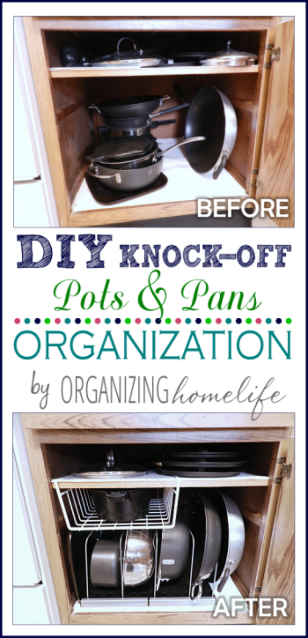 Best Organizing Ideas for the New Year - Frugally Organize Pots And Pans - Resolutions for Getting Organized - DIY Organizing Projects for Home, Bedroom, Closet, Bath and Kitchen - Easy Ways to Organize Shoes, Clutter, Desk and Closets - DIY Projects and Crafts for Women and Men