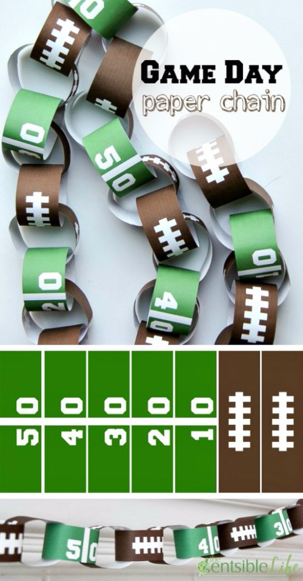 DIY Projects for the Sports Fan - Game Day Paper Chain - Crafts and DIY Ideas for Men - Football, Baseball, Basketball, Soccer and Golf - Wall Art, DIY Gifts, Easy Gift Ideas, Room and Home Decor http://diyjoy.com/diy-ideas-sports-fan