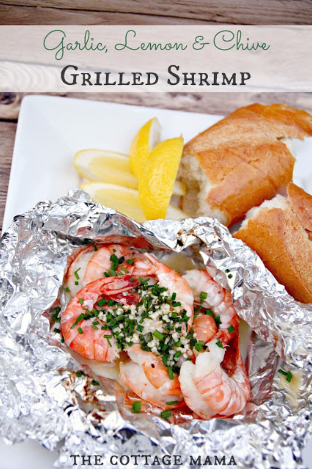 DIY Tin Foil Camping Recipes - Garlic Lemon And Chive Grilled Shrimp - Tin Foil Dinners, Ideas for Camping Trips and On Grill. Hamburger, Chicken, Healthy, Fish, Steak , Easy Make Ahead Recipe Ideas for the Campfire. Breakfast, Lunch, Dinner and Dessert, Snacks all Wrapped in Foil for Quick Cooking http://diyjoy.com/camping-recipes-tin-foil